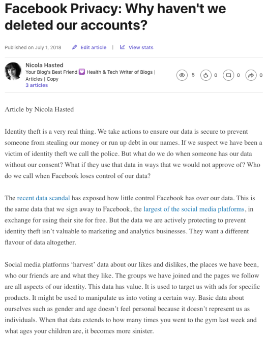 facebook identity health and tech writer