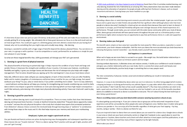 Health Benefits of Dancing by Nicola Hasted Health & Tech Writer