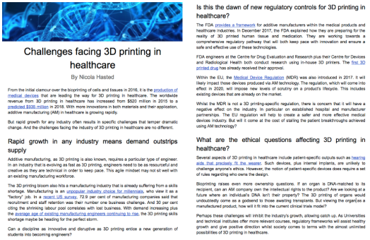 3D Printing Healthcare Challenges