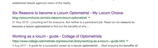 SERP Locum Optometrist