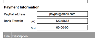 Freelance Writer Invoice Template payment information option 1